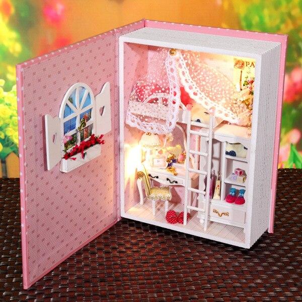 Girls Kids Childrens Wooden Nursery Bedroom Furniture Toy: 3D Diy Pink Girl's Room Creative Books Wooden Miniature
