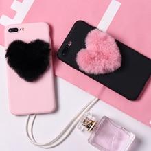 Cute Fluffy Fur Heart Pom Pom Soft Candy Matte Phone Case Funda Coque For iPhone 11