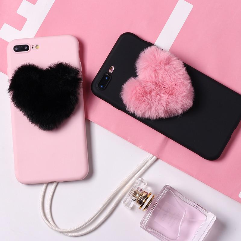Cute Fluffy Fur Heart Pom Pom Soft Candy Matte Phone Case Fundas Coque For iPhone 6