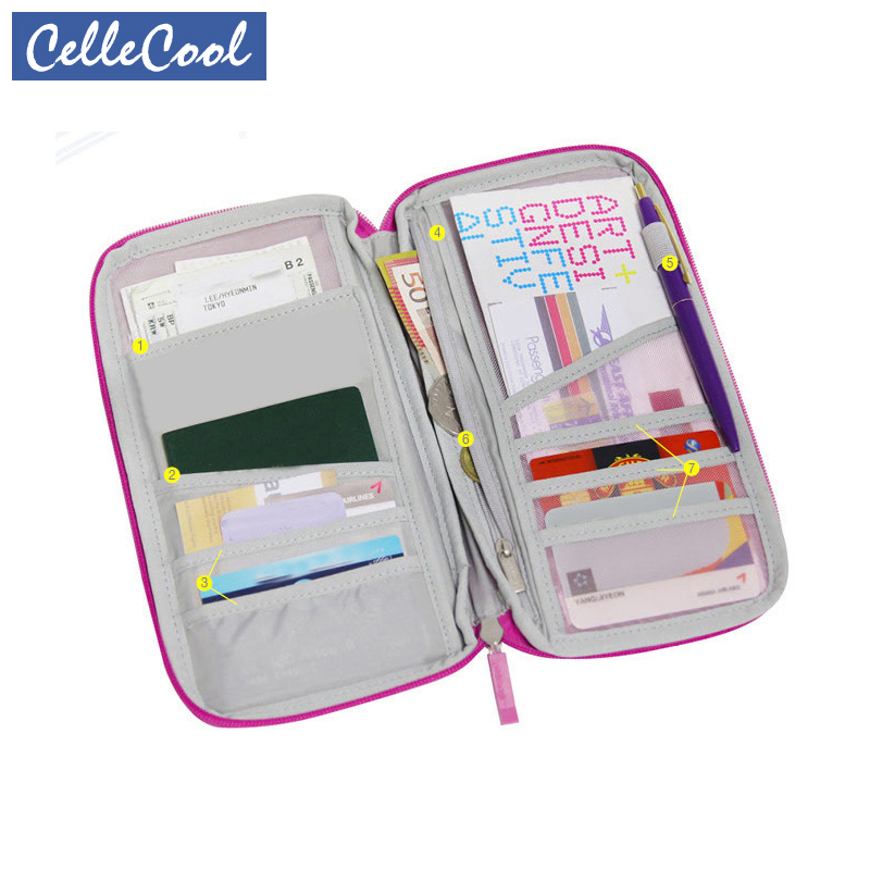 Multi-function Travel Organizer Passport Holder Card Package Credit Card Holder Wallet Document Package Fashion Multi Pockets