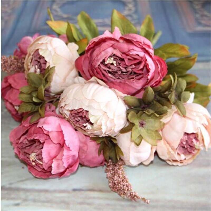 Fiori artificiali Fiore di seta Europeo Autunno Vivid Peony Fake Leaf Wedding Home Decorazione del partito