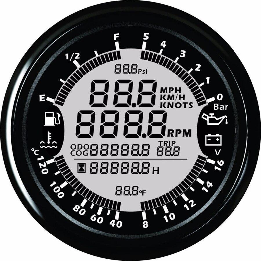 9-32 v 85mm GPS tachymètre Pression D'huile D'eau Température Voltmètre niveau De Carburant Compteur Kilométrique avec rétro-éclairage pour auto Bateau Jauges