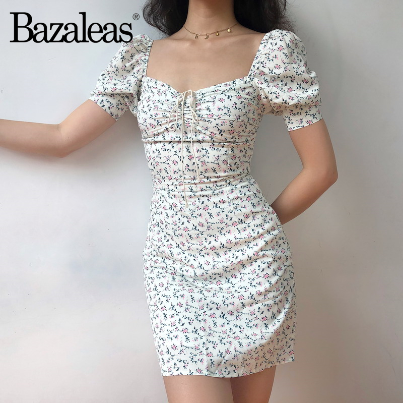 91a697feee464 Bazaleas 2019 women trimming dress short sleeve party Dresses front Ties  Flora Print Dress Drop shipping