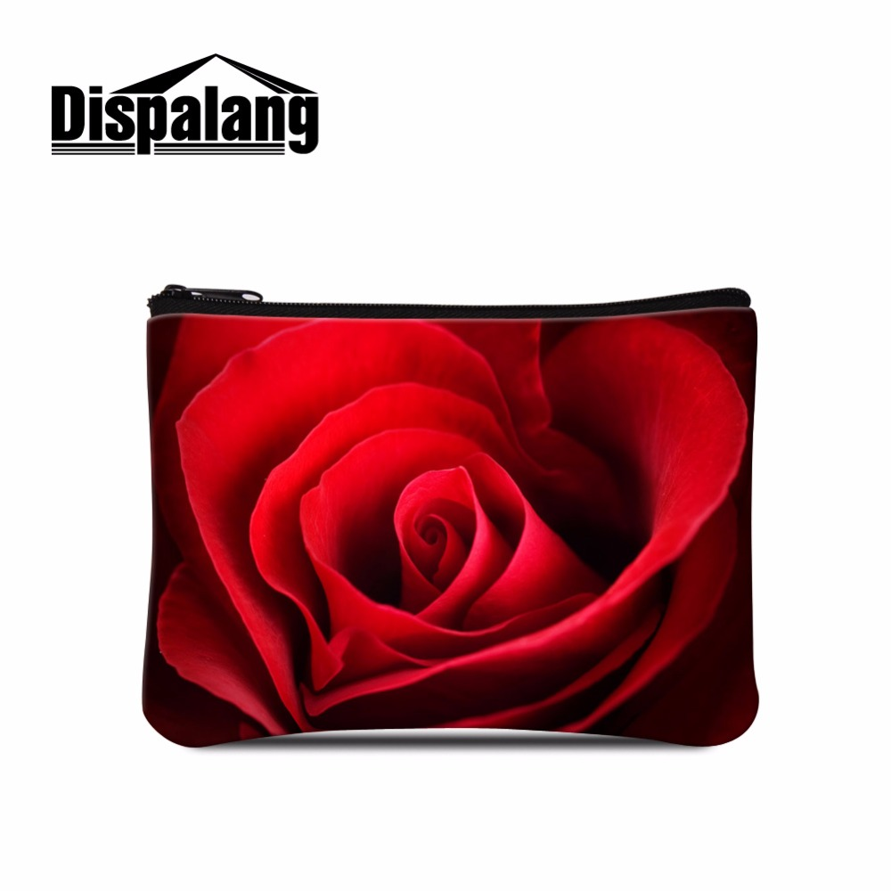 Spandex Coin Purses Elastic Wallet for Women Flower Rose Printed Girls Coin bag Casual Style Children coin pouch Floral Zippered