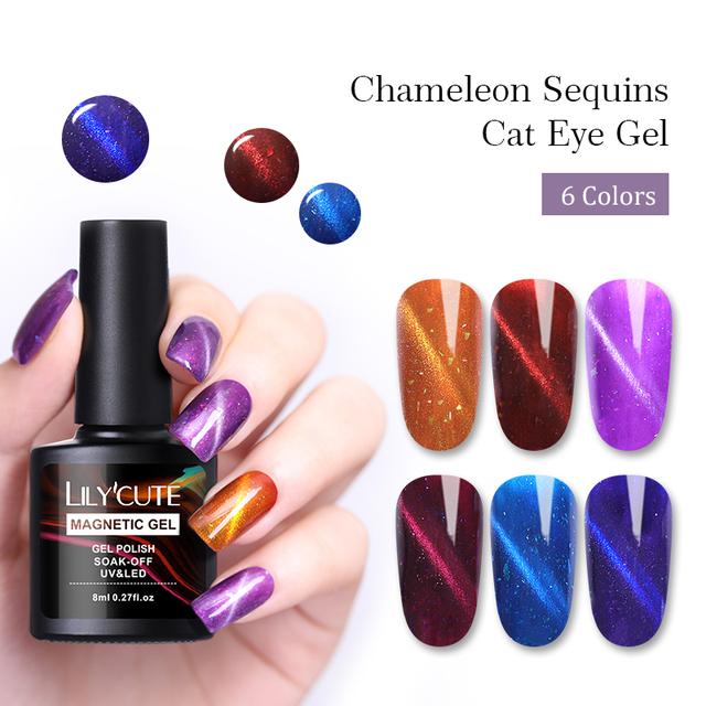 LILYCUTE 8ml 3D Cat Eye Sequins Gel