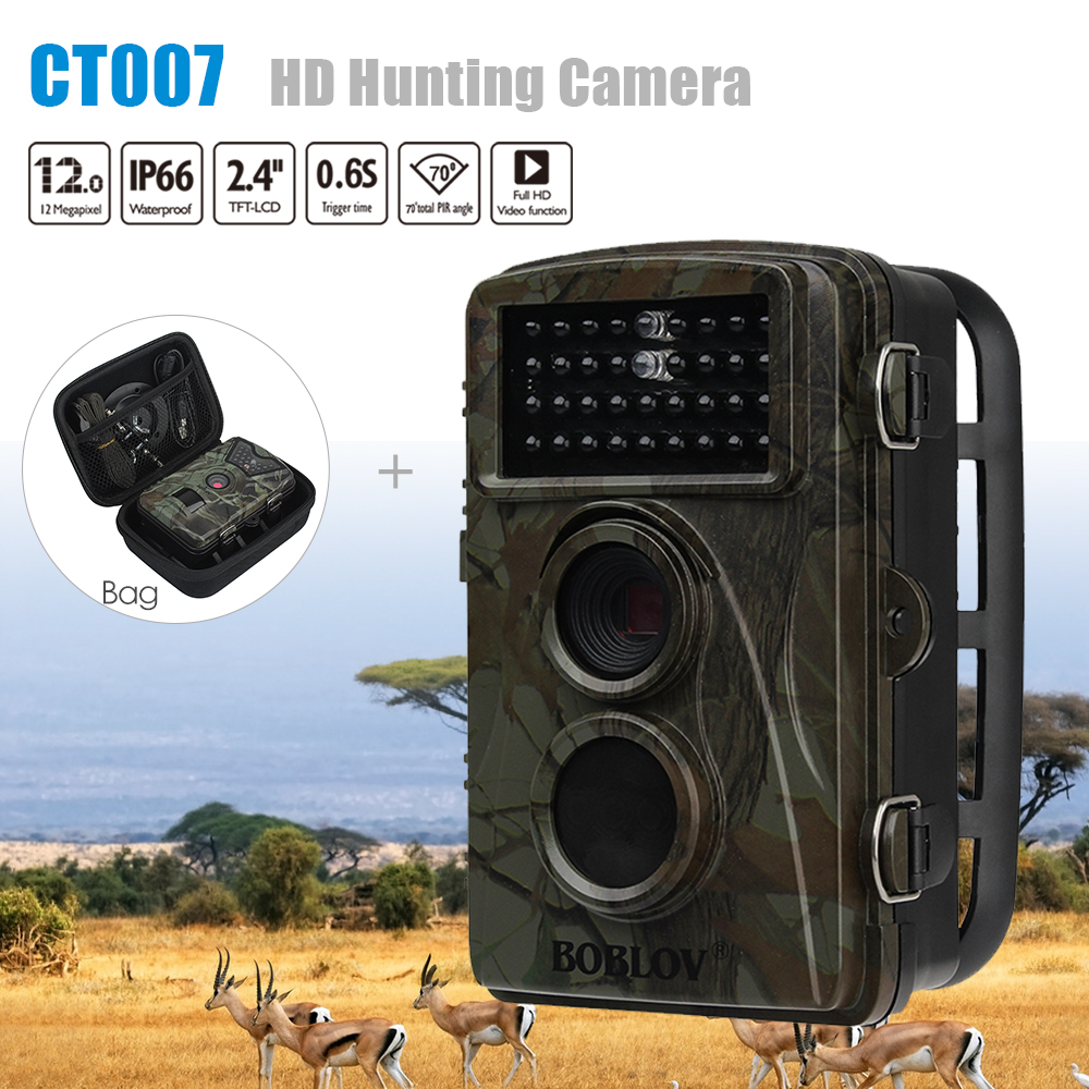 BOBLOV CT007 HD 1080P 12MP Hunting Scouting Trail Camera Game Wildlife Motion Detection 34PCS IR LED Night Vision Farm Cam + Bag 12mp hd 1080p black ir game hunting scouting camera ip66 super long detection range up to 75ft 2 0 lcd ir game hunter cam