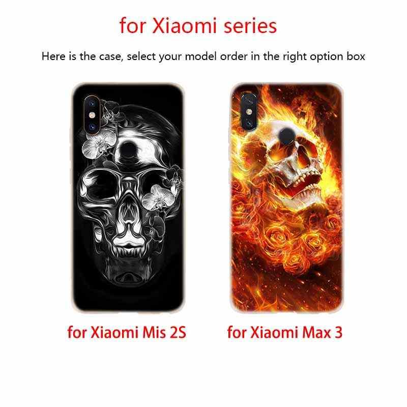 Housse souple en Silicone TPU pour Xiao mi Xiao mi mi 5X9 8 A2 Lite 6X F1 mi x 2s Max3 rouge mi Note 7 Go Grim Reaper crâne squelette