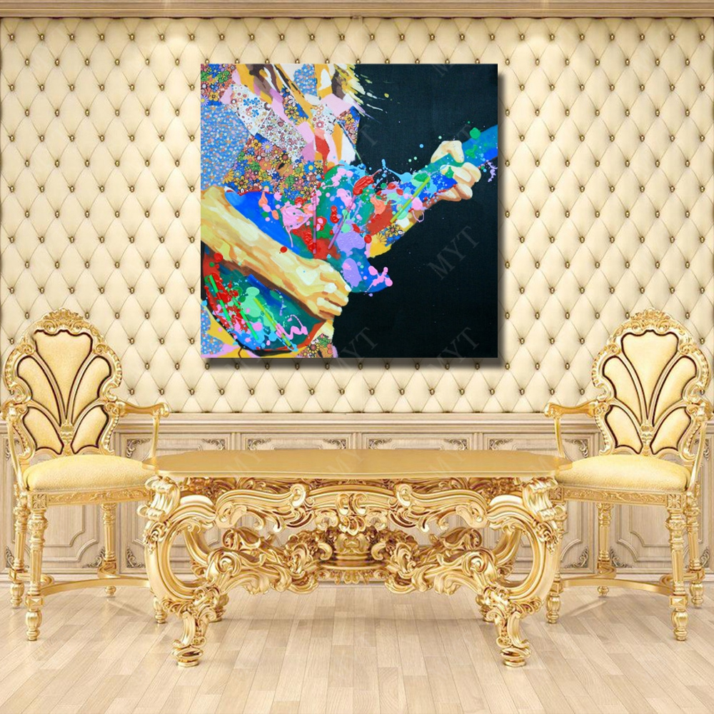 Hand painted modern abstract canvas oil painting of violin man play ...