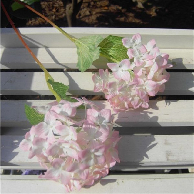 Hot 1 Pc Pink Silk Flower Branch Artificial Hydrangea Wedding Home