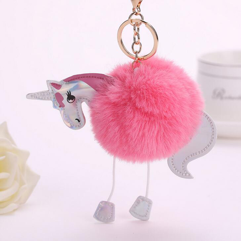 2017 Leuke Paard Bag Charm Auto Sleutelhanger Bont Accessoires Pluizige Eenhoorn Pony Sleutelhanger Vrouwen Pompom Faux Fur Ball Pompom Sleutelhangers