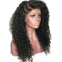 COLODO Kinky Curly Afro Hair Wigs 180 Heavy Density Black Color Synthetic Lace Front Wig Heat