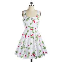 Vestito Da Estate delle donne Senza Maniche Casual Retro Vintage 1950 s 60 s Cherry Grande Swing Mini Abiti Floreali