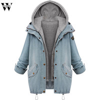 WOMAIL 2018 New 2 Pieces Winter Plus Size Women Warm Collar Hooded Female Coat Jacket Denim Trench Parka Outwear Drop Shipping