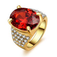 Big Oval Red Stone Crystal Zircon Vintage Wedding Rings For Men 10KT Yellow Gold Color Plated Ring Jewelry(China)