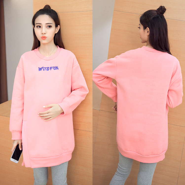 ФОТО Maternity Clothes Autumn Winter Maternity Hoodies Sweatshirt Loose Letter Print Pregnancy Clothes for Pregnant Women B390