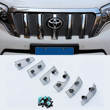 Super Quality Stainless Steel 6pcs/set Car Racing Grills For Toyota Land Cruiser Prado 2014-2016 Front Grill Grille Cover Trim
