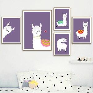 Image 1 - Lama Alpaka Cartoon Tier Kindergarten Drucke Nordic Poster Und Drucke Wand Kunst Leinwand Malerei Wand Bilder Baby Kinder Zimmer Dekor