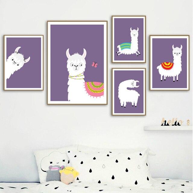 Lama Alpaka Cartoon Tier Kindergarten Drucke Nordic Poster Und Drucke Wand Kunst Leinwand Malerei Wand Bilder Baby Kinder Zimmer Dekor