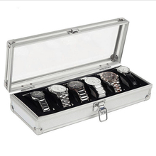 где купить 6 Grid Slots Aluminium Luxury Brand Watch Display Box Watches Case Jewelry Decoration Storage Holder Organizer Free Shipping по лучшей цене