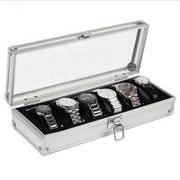 6 Siatka Sloty Przypadku Aluminium Polu Wyświetlacza Zegarka Zegarki Luksusowe Marki Biżuterii Dekoracji Przechowywania Organizator Holder Darmowa Wysyłka