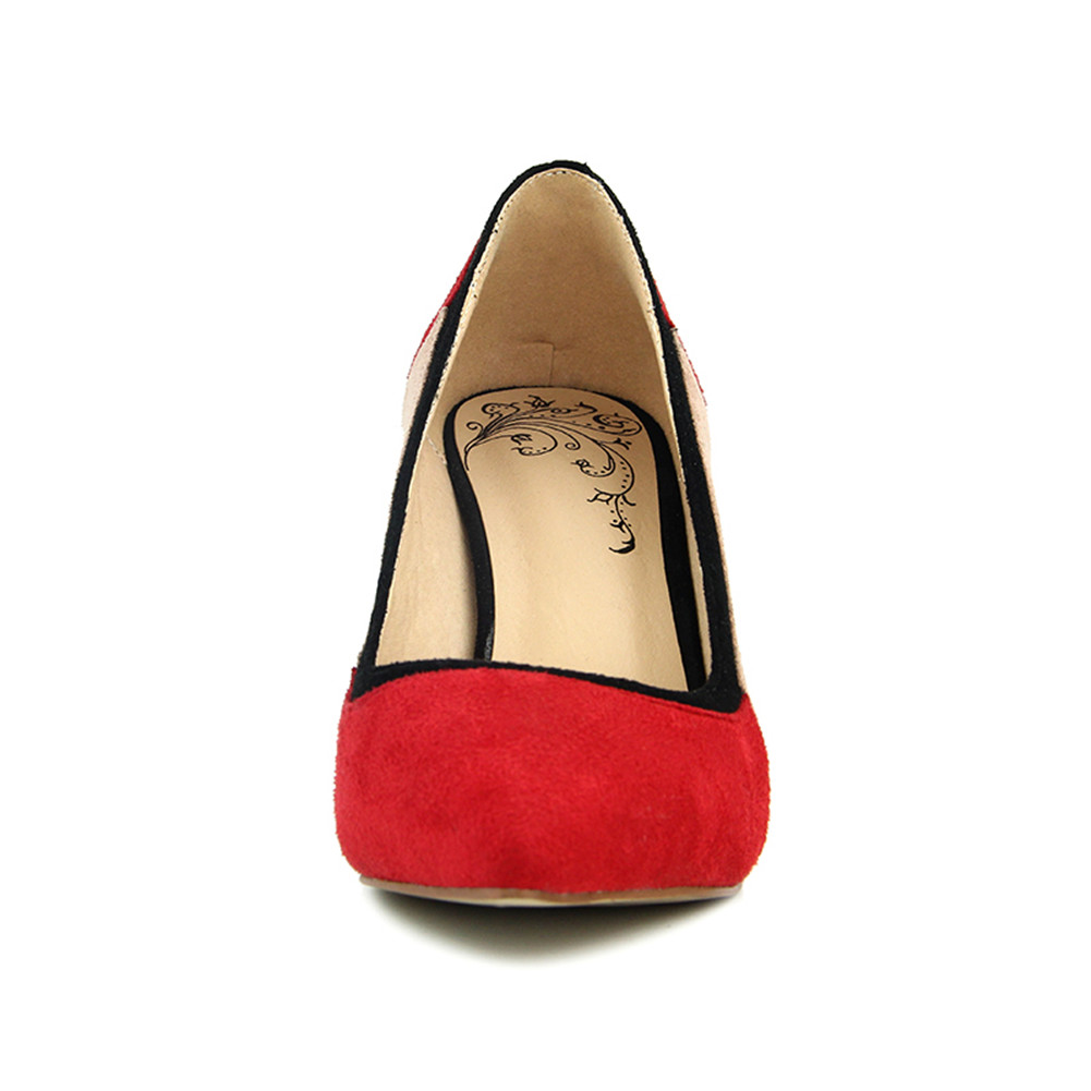 Sottili Sarairis Tacchi New Punta A 42 Della Autunno Casual Molla Dimensioni Rosso Di 34 Donna Flock Pompe Grandi Basse Brand Scarpe Colori Misti Alti SASq8
