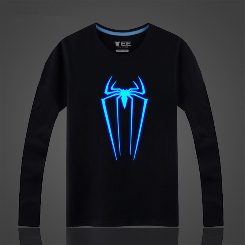 d71d10fb94f Long Sleeve Tshirt Men Fashion Casual Tee Shirt High Quality Glowing Spider  Printed Funny T Shirts Spiderman Clothing ZX402-in T-Shirts from Men's  Clothing ...