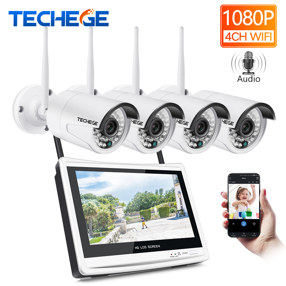 Techege 4CH Wireless 1080P NVR Kit HD 12 LCD Monitor 4CH wifi NVR Security 2MP Audio