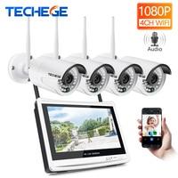Techege 4CH Wireless 1080P NVR Kit HD 12 LCD Monitor 4CH wifi NVR Security 2MP Audio WIFI camera CCTV Camera System APP remote