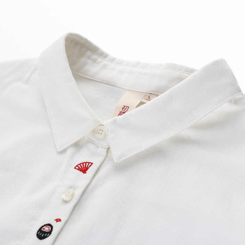 Toyouth Komik Nakış Desen Beyaz Gömlek Bayan Sonbahar Rahat Tam Kollu Bluzlar 2019 Moda Katı Kadın Üstleri Ve Bluzlar