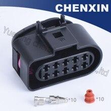 Preto 10pin conector auto farol do carro plugue elétrico (rosa clipe) 3.5 do sexo feminino, incluindo terminais e selo waterproof1J0973735