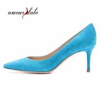 a5e5f47ba6e0b Amourplato Women s Pointed Toe Mid-Heel Pumps Slip On Middle Heels Shoes Low -heel Party Dress Shoes Closed Toe