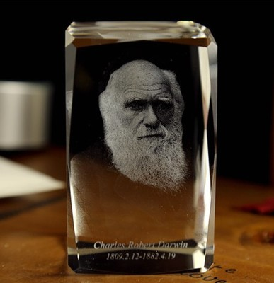 2020 Christmas BEST ART business present -limited edition  Charles Darwin 3D  Crystal Image Decoration