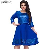 COCOEPPS אופנתי אלגנטי נשים פאייטים גדלים חדשים 2018 בגדי נשים בתוספת גודל L-6xl גדול שמלות שמלת שמלה מזדמן o-צוואר