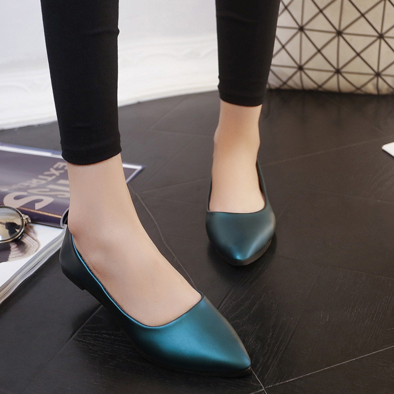 2016 New Spring Women Flats Shoes High Quality Leather Pointed Toe Casual Shoes Women Loafer Zapatos Mujer X033 new hot spring summer high quality fashion trend simple classic solid pleated flats casual pointed toe women office boat shoes