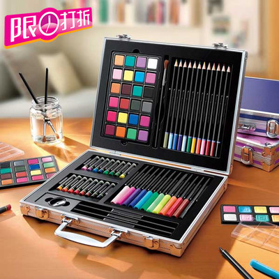 ФОТО 64pcs / set  kids gift educational drawing set with crayon brush sketch pencil Watercolors powder eraser gray/pink/black box