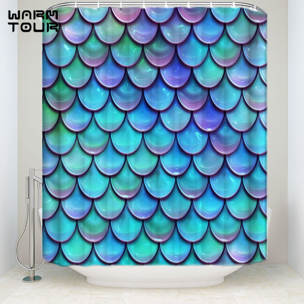 Extra Long Fabric Bath Shower Curtains 48 x 72 Fantasy Gradient Fish Scale Mildew-resistant Bathroom Decor Sets with Hooks