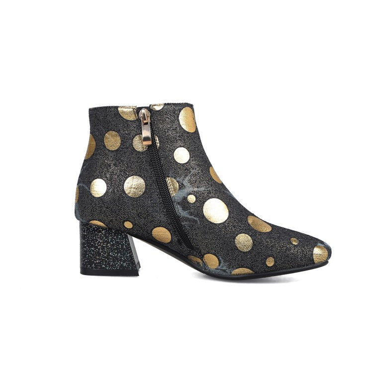 PXELENA Retro Polka Dot Denim Ankle Boots Women Square Med Heels Short  Boots Lady Shoes 2018 Winter New Style Fashion Blue 34 43-in Ankle Boots  from Shoes ... 31c080a41f48