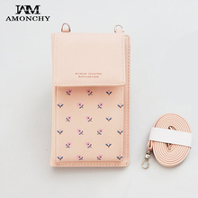 AMONCHY New Women Messenger Bags Mini Lady Shoulder Crossbody Bag For iPhone PU Leather Cell Phone Bag Flower Prints Purse 2019 flower print pu purse bag