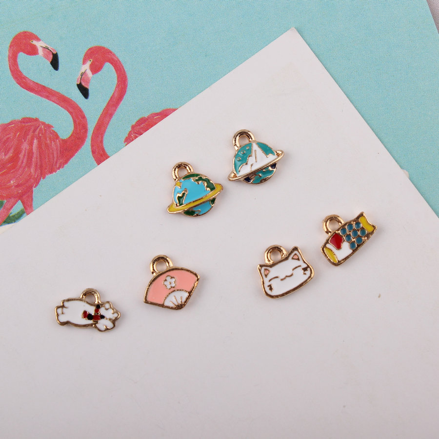 Charms Jewelry Sets & More Mini Order 10pcs/lot Cute Japanese Style Enamel Alloy Charms Kawaii Saturn Fan Cat Fish Rabbit Animal Floating Pendants Charm 2019 Official