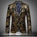 Primera marca de lujo importados traje de terciopelo de oro juego de la chaqueta de caballero de negocios delgado traje de seda y lana más el tamaño M-3XL