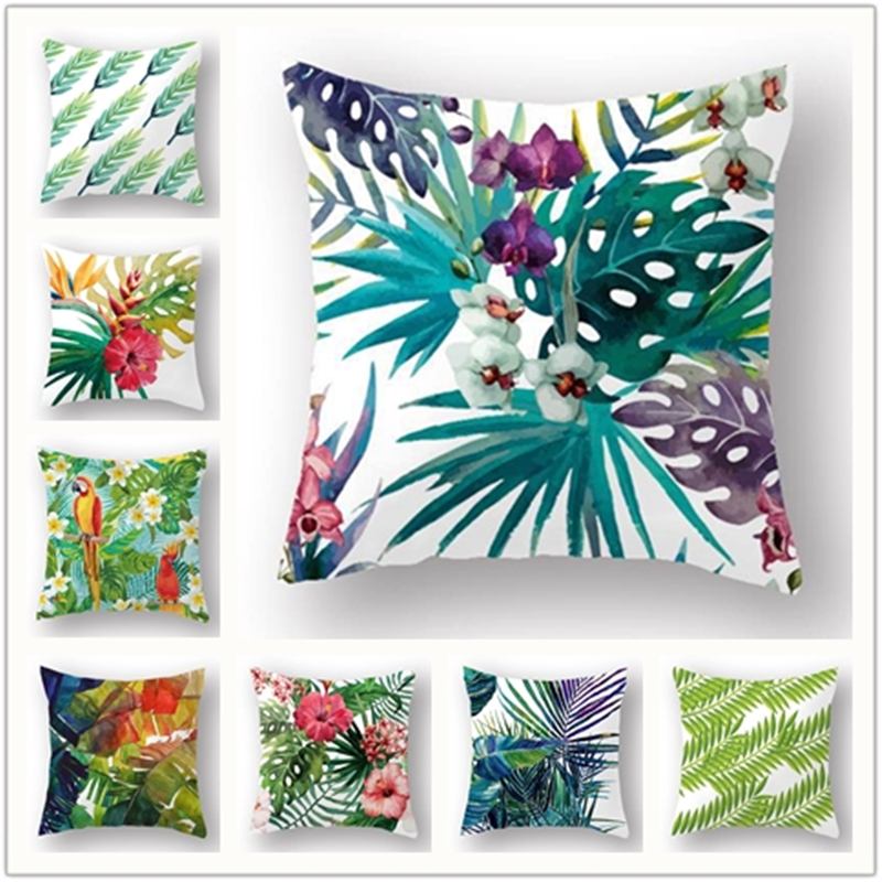 New Fashion Hawaiian Garden Tropical banana Leaves Palm Leaf Decorative Throw Pillowcases pillow Cushion Covers Sofa Home Decor ...