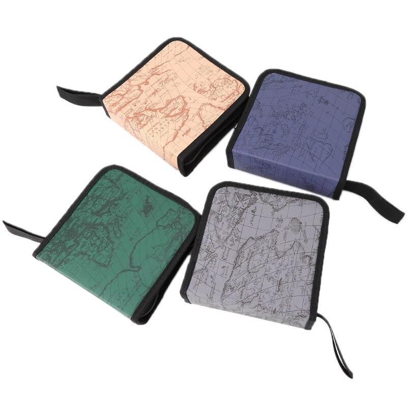 THINKTHENDO 40 Disc CD Holder DVD Case Storage Wallet VCD Organizer World Map Zipper Bag