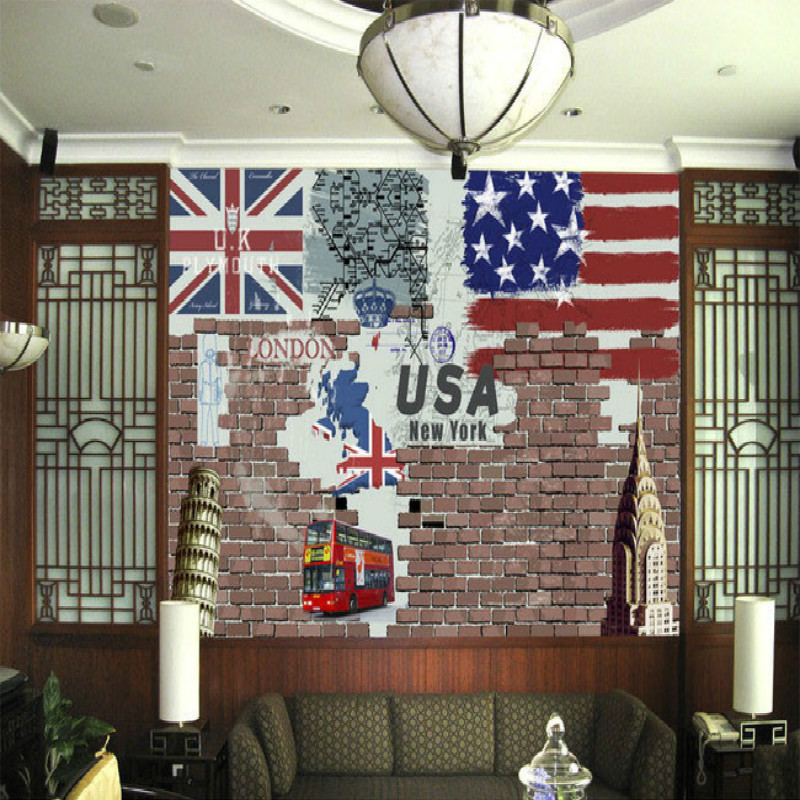 Europe and USA nostalgic retro style image wall mural large mural wallpaper bedroom living room TV backdrop painting wallpaper