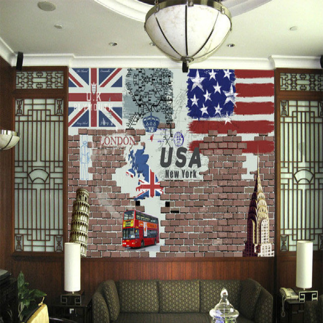 Europe Et Usa Nostalgique Retro Style Image Mur Mural Grand Mural