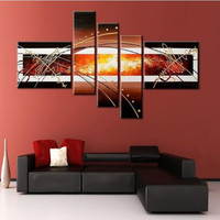 Hand Painted Abstract Graffiti Lines Oil Paintings on Canvas Modern Home Decorativos Arts Large 5 Panel Wall Painting Pictures