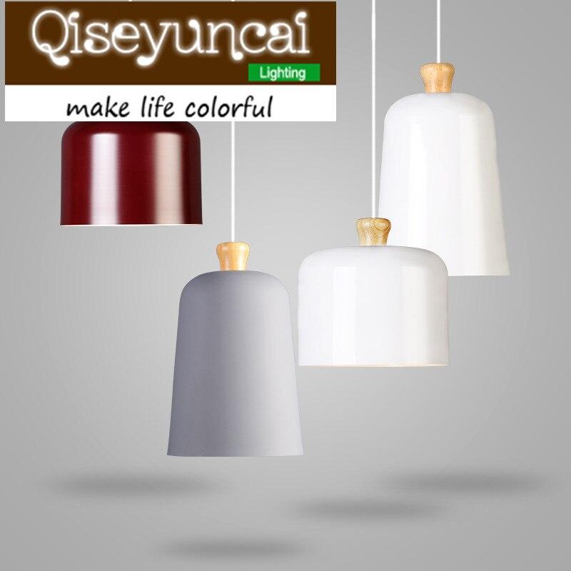 Qiseyuncai The Nordic minimalist wooden single head E 27 aluminum chandelier of modern Restaurant Simple lighting free shipping