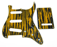 ST Pickguard Black/Yellow Wicker w/ Parchment Pickup Covers,Knobs,Switch Tip