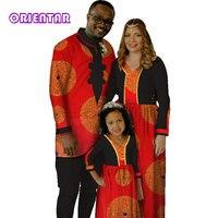 Африка Семейные комплекты отец мать дочь Африканский принт с длинным рукавом Для мужчин рубашка топ и брюки Для женщин платье для девочек