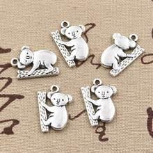 15 pçs encantos koala urso 20x14mm artesanal artesanato pingente que faz o ajuste, vintage tibetano bronze prata cor, diy para pulseira colar