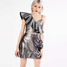 Chic Silver PU Leather Women Dress 2018 New Model Fashion Spaghetti Strap Summer